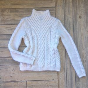 ZARA Knit Sweater Mock Neck Cable Ivory Small
